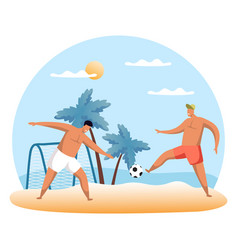 sand football or beach soccer with cartoon people vector image