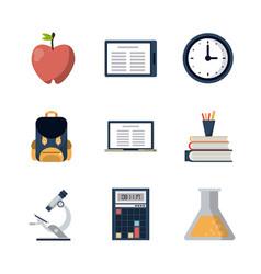 School elements icons vector