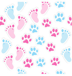 seamless background with baby footprint and vector image