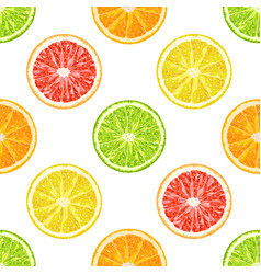 seamless pattern from citrus slices orange vector image