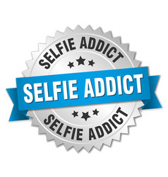 Selfie addict round isolated silver badge vector