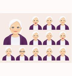 Senior woman expressions set vector