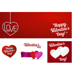 Set card happy valentines day or weeding vector