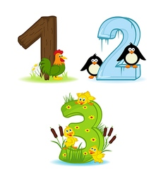 Set numbers with number animals from 1 to 3 vector