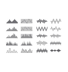 set of music sound waves radio frequency tracks vector image