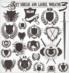 set - shields and laurel wreaths 3 vector image