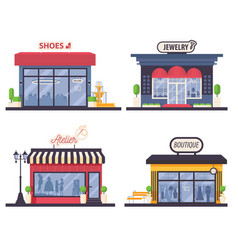 set with flat woman fashion store front like vector image