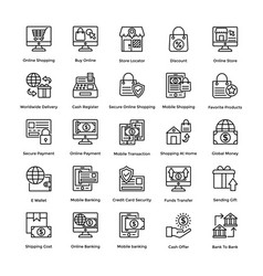 shopping colored icons set 2 vector image