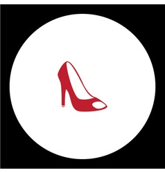 simple lady court shoe isolated red icon eps10 vector image