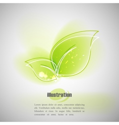 Simple of green leaves with blurred watercolor vector