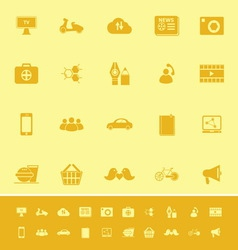 Social network color icons on yellow background vector image