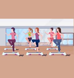 Sports women group doing squats on step platform vector