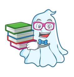 Student with book cute ghost character cartoon vector