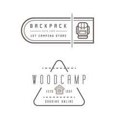 Summer camp backpack wood house concept for vector