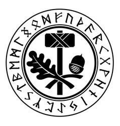 Thors hammer - mjolnir scandinavian and oak vector