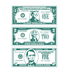 three simplified stylized bills in high contrast s vector image
