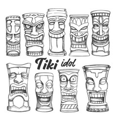 tiki idol collection totem vintage set vector image