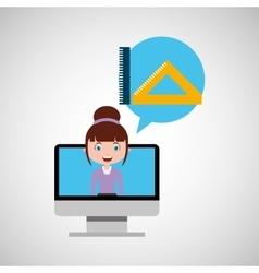 tools geometry education online design girl vector image