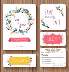Wedding invitation card set Thank you card save vector image