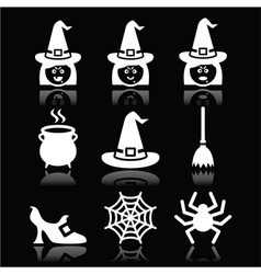 Witch Halloween icons set on black vector