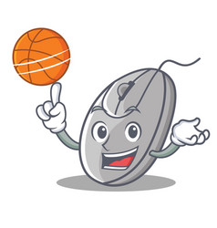 With basketball mouse character cartoon style vector