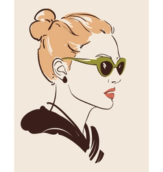 Woman in glasses vector