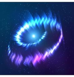 Blue shining cosmic neon light twirl vector image vector image