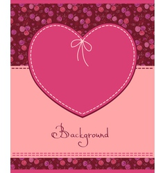 pink heart textile label vector image vector image