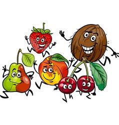Running fruits group cartoon vector