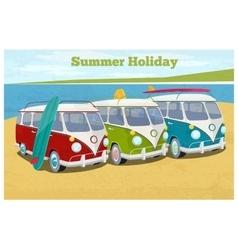 Summer travel design with camper van vector image vector image