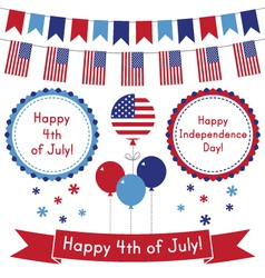 4th of July design elements set vector image