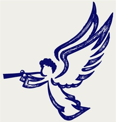 Angel with trumpet vector image vector image