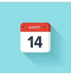 August 14 Isometric Calendar Icon With Shadow vector image vector image