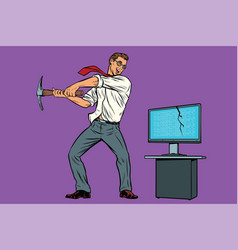 businessman breaks the computer cryptographer vector image