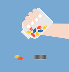 hand pouring medicine from container vector image