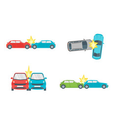 cartoon car crash road accident set vector image