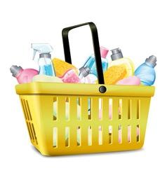Basket With Detergent vector image