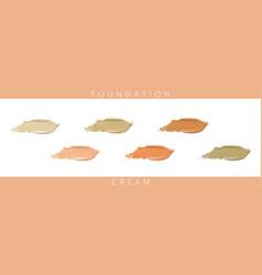 Cosmetic liquid foundation cream set in different vector
