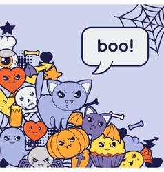 Halloween kawaii greeting card with cute doodles vector image
