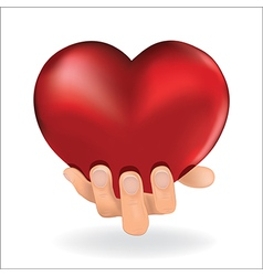 holding love heart vector image vector image
