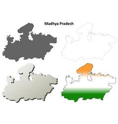 Madhya Pradesh blank outline map set vector image