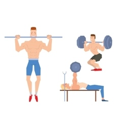 Man lifting heavy weight barbell sport gym people vector