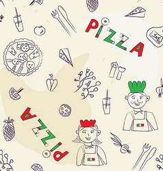Pizza seamless pattern - hand drawn vector image