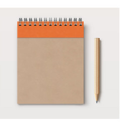 spiral brown craft paper cover notebook vector image vector image