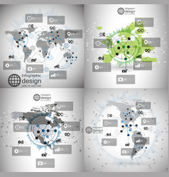 World maps set infographic templates for business vector image