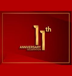 11 anniversary celebration logotype golden color vector