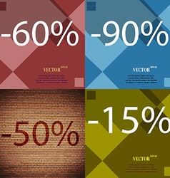90 50 15 icon set percent discount on abstract vector