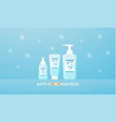 Alcohol gel spray soap liquid bottles vector