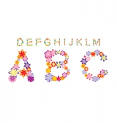 Alphabet made by color flowers vector
