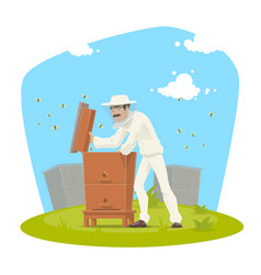 beekeeper with beehive and bee honey icon vector image